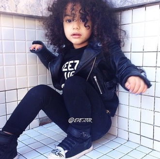 jacket leggings cat sneakers yeezy taught me yeezy shirt kids fashion curly hair leather leather jacket black leather jacket black leather bomber jacket black bomber jacket black leggings sneakers high top sneakers yeezy fashion kids with swag natural hair