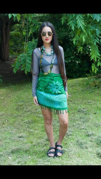 skirt green blue thriftshop