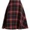 A-line tartan-knit wool skirt