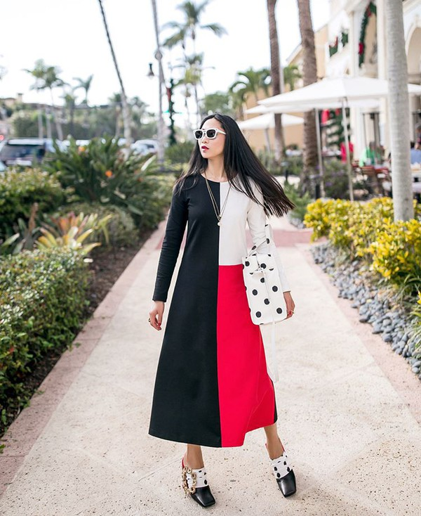 dress three colors dress a line dress shoes bag polka dots bag polka dots sunglasses long dress black white red dress