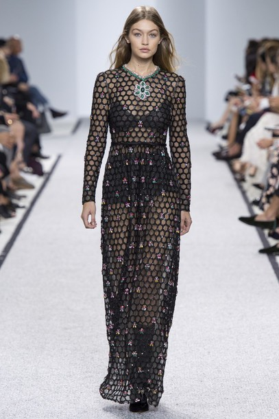 Dress: giambattista valli, see through, see through dress ...