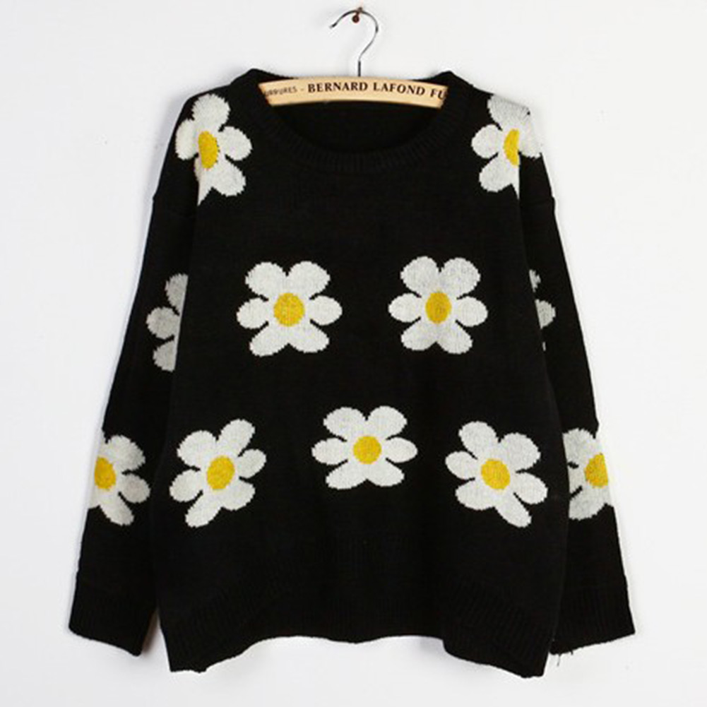 Blouse Loose O Neck Black Ladies Daisy Sunflower Short Sweater Coat Top Jumper | eBay
