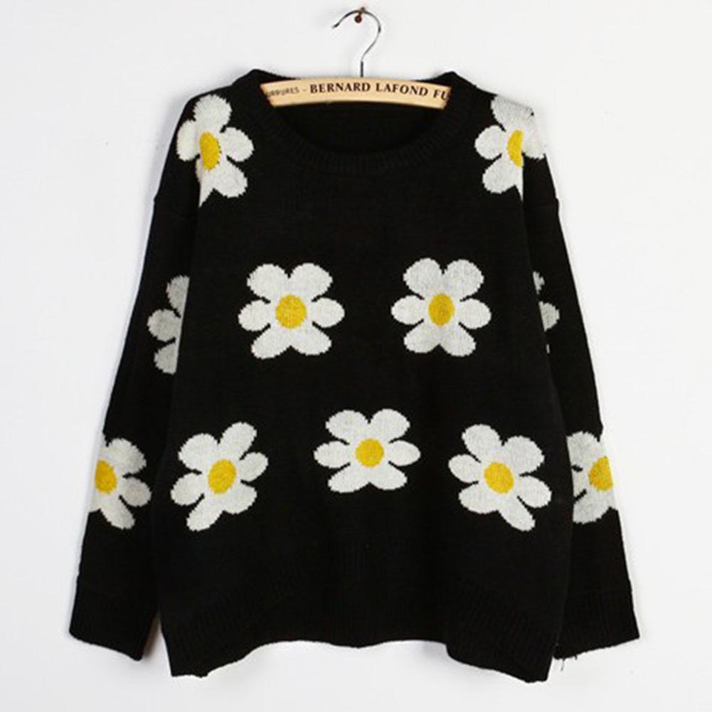 Blouse Loose O Neck Black Ladies Daisy Sunflower Short Sweater Coat Top Jumper | eBay