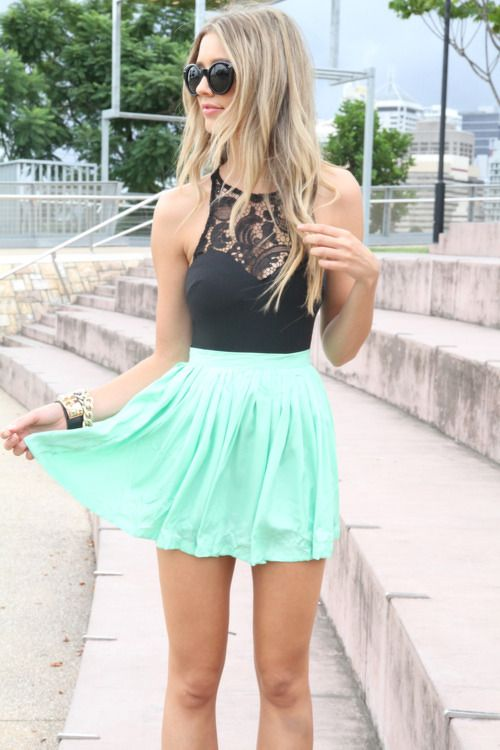 #Black #Laced #Top & #Mint #Skirt #Style #Fashion ... | Skirts and Sh…
