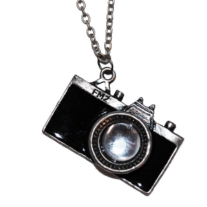 Paparrazi camera necklace in black