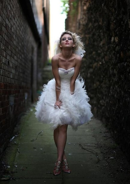 Dress 188196401 2014 wedding gowns feathers dresses for Short feather wedding dress