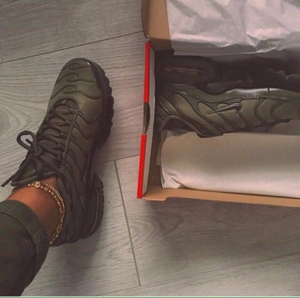 newest 29097 27799 ... Nike Air Max Plus GS Tn Tuned Cargo Olive Green Juniors Girls Boys  Womens 655020 ...