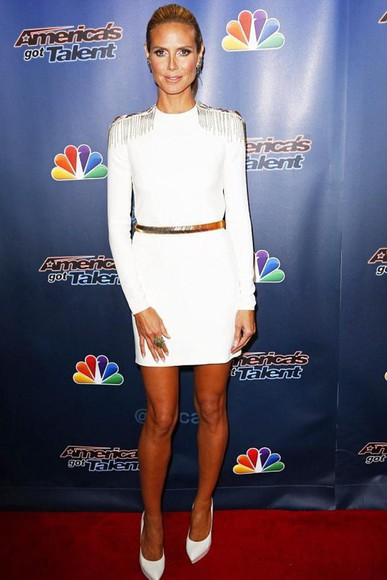 dress white dress heidi klum shoes high heels