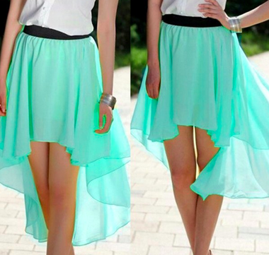 chiffon maxi skirt mint green
