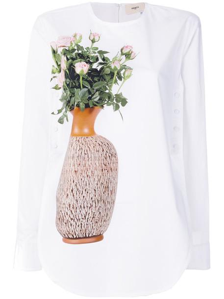 Ports 1961 - flower and vase print blouse - women - Cotton - 36, White, Cotton