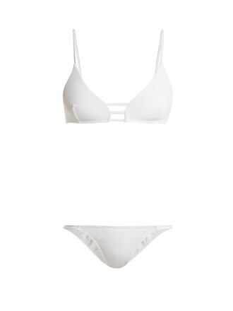 bikini triangle bikini triangle cut-out white swimwear