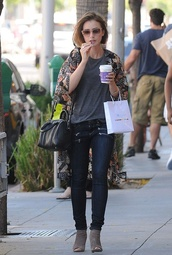 jeans,lily collins,shoes,bag,cardigan