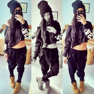 hat sweater pants shoes cute shirt blouse t-shirt joggers clothes black sexy black outfit swag style white baggy crop tops baggy pants pyrex top sweatpants timberlands beanie cropped sweater dope wishlist hareem pants loose pants outfit boots hip hop shirt dance off the shoulder crop jogging suit joggers pants harem street tomboy