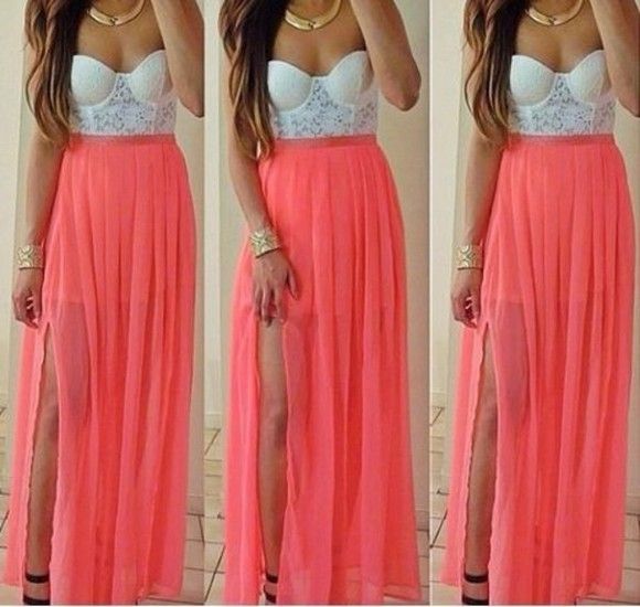 dress bandeau lace coral maxi tank top pink dress lace dress slitted maxi skirt slitted dress, bustier, white, pink, jewels skirt belt classy pink pastel dresses, summer dresses, pink floral kimono, corset maxi dress