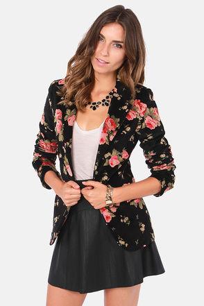 Cute Floral Print Blazer - Black Blazer - Velvet Blazer - $105.00