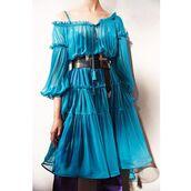 dress,tumblr,blue dress,puffed sleeves,belt,long sleeves,long sleeve dress,midi dress,see through dress,off the shoulder,off the shoulder dress,ruffle,ruffle dress,puff sleeve dress