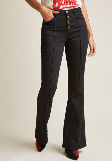 Modcloth jeans flare jeans flare black