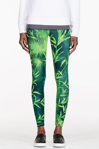 leaf pants clothes women green print leggings