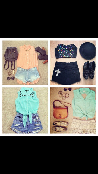 shorts blouse shirt button up booty shorts high heels Accessory jeans shoes jewels bag hat pers outfit fashion style top collared shirts pretty girly girl accessories perfecto sunglasses bred 11s sleeveless top