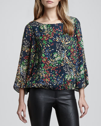 Rebecca Taylor Boxy Half-Sleeve Colorblock Top - Bergdorf Goodman