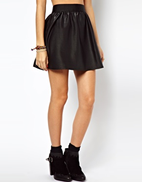 ASOS | ASOS Skater Skirt In Wet Look at ASOS