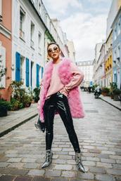 jacket,pink vest,silver boots,tumblr,vest,faux fur vest,pants,black vinyl pants,vinyl,black boots,boots,ankle boots,sunglasses