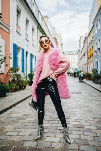 jacket pink vest silver boots tumblr vest faux fur vest pants black vinyl pants vinyl black boots boots ankle boots sunglasses