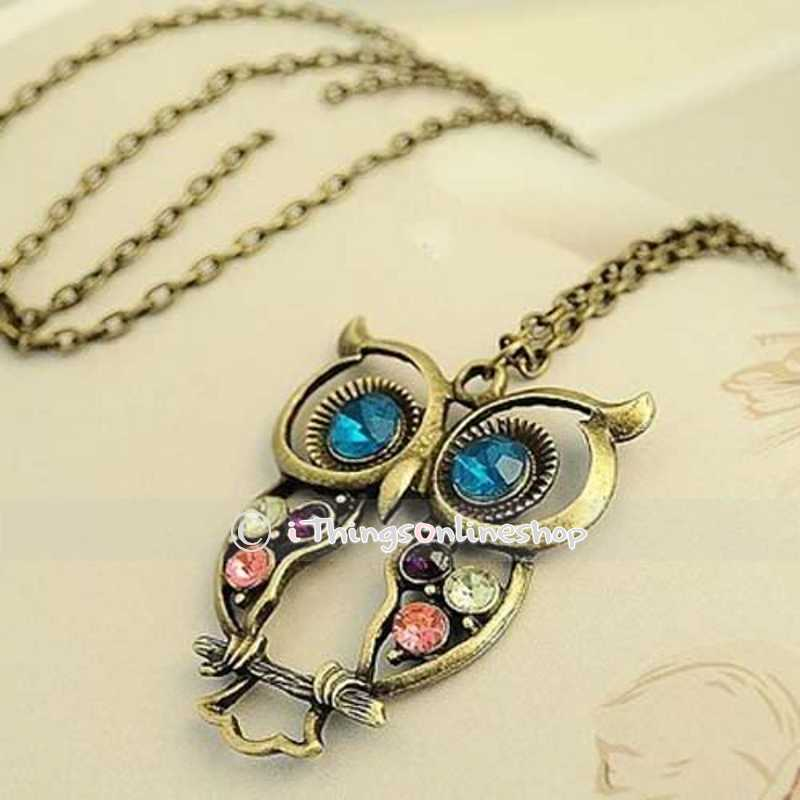 Vintage rhinestone owl pendant long chain necklace fashion jewellery gift
