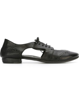 cut-out women leather black shoes