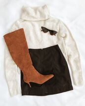 sweater,white sweater,shoes,brown shoes