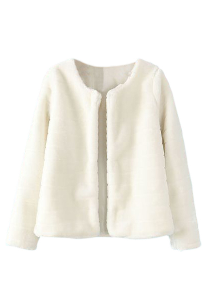 ROMWE | ROMWE Buttonless Furry Long Sleeves White Coat, The Latest Street Fashion