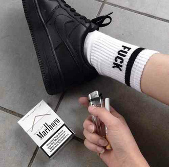 socks shoes nike black nike air force 1 fuck socks nike shoes black shoes pale black pale marlboro sneakers black sneakers just do it black and white tumblr blacke and white pale teenagers punk art cigarette