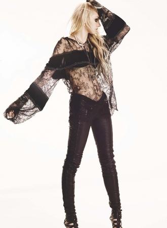 taylor momsen t-shirt blouse lace shirt long sleeve crop top