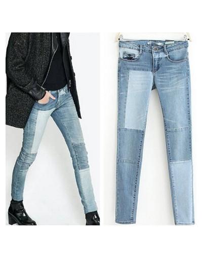 Patchwork denim pencil slim jeans two 2 color