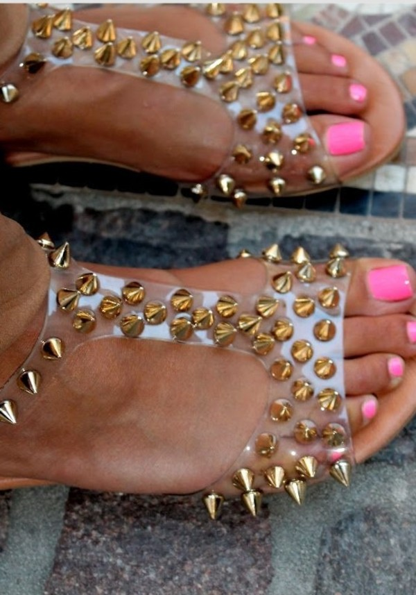 shoes studs sandals clear
