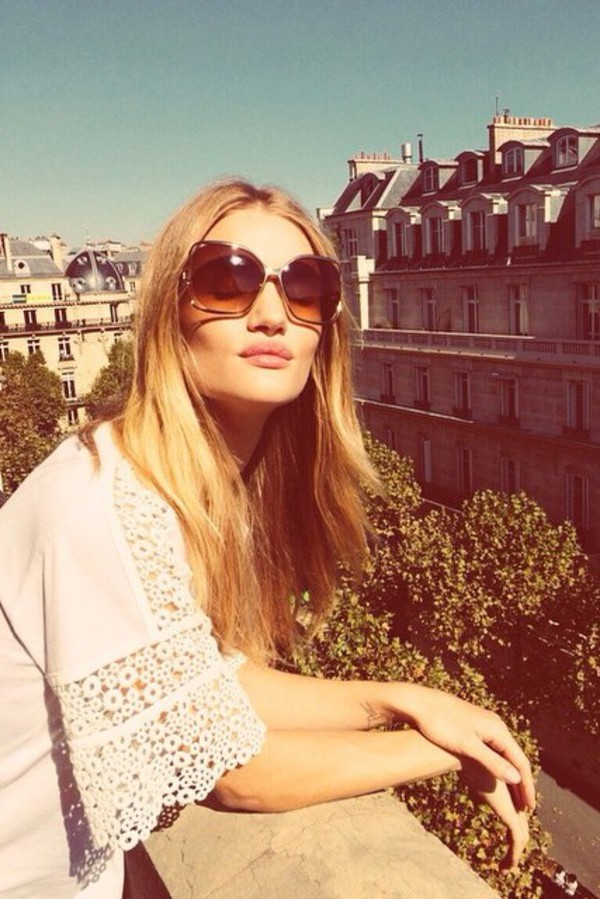 top white blouse rosie huntington-whiteley boho streetstyle fashion week 2014 sunglasses