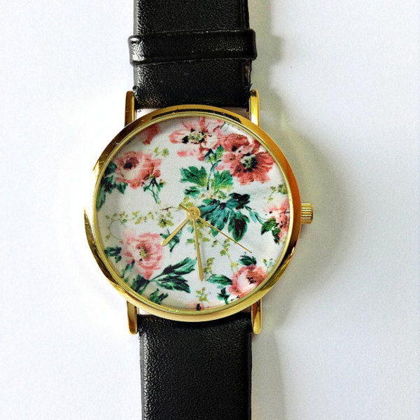 jewels floral floral watch jewelry fashion style accessories leather watch watch watch freeforme etsy