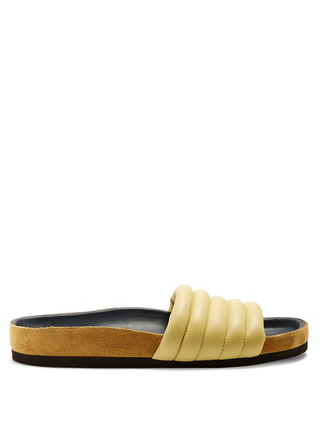 Isabel Marant quilted leather light yellow shoes