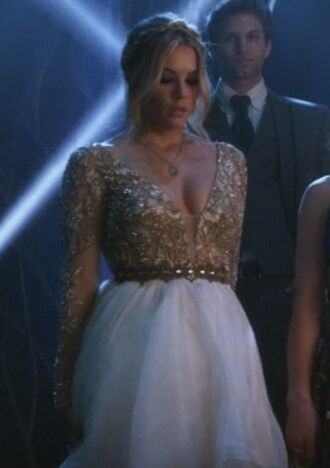 dress white and gold gown hanna marin ashley benson pretty little liars belt