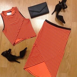 top stripes matching set crop tops orange blvd