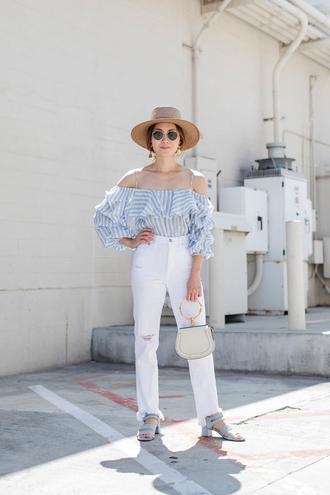top white jeans hat tumblr off the shoulder off the shoulder top stripes striped top blue top denim jeans sandals sun hat bag