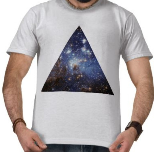 t-shirt hipster triangle space galaxy print glitter
