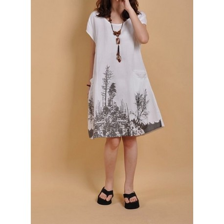 White Cotton dress loose dress cotton shirt lml1031A - lol-malls - Trustful Online Shopping for Women Dresses