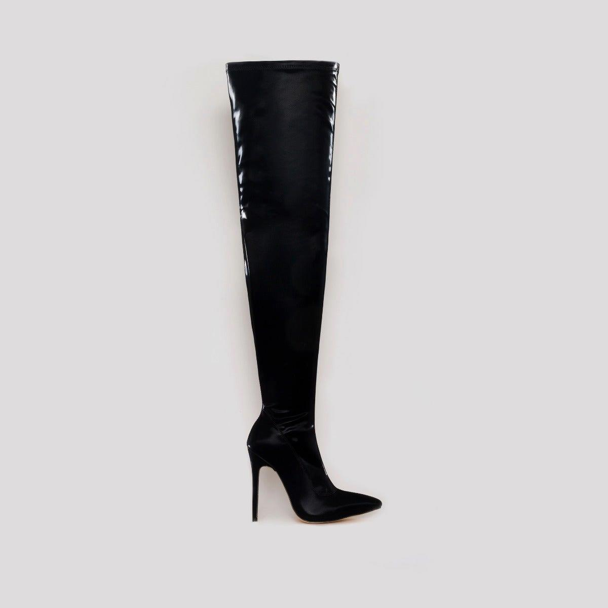 Isabel Black Shine Thigh High Stiletto Boots