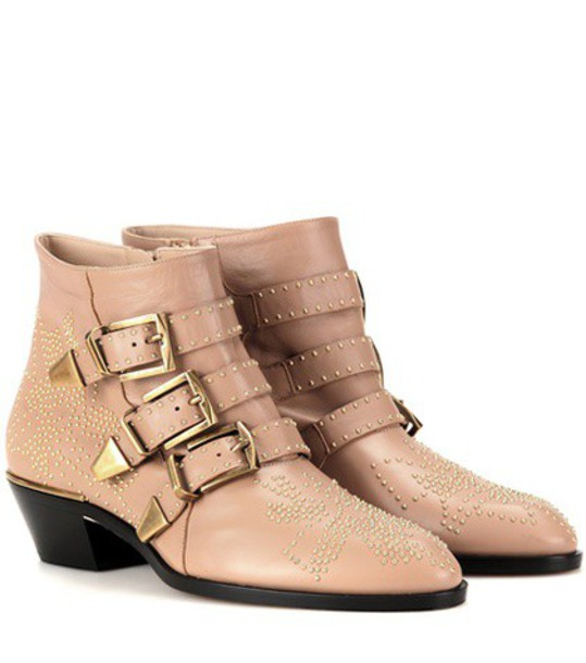 Chloé Susanna Studded Leather Ankle Boots in neutrals