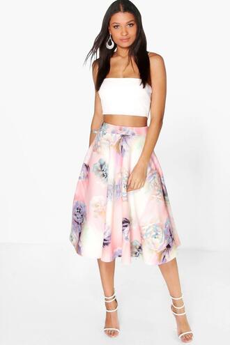 skirt boohoo skirt pastel skirt floral skirt midi skirt floral midi skirt pastel midi skirt