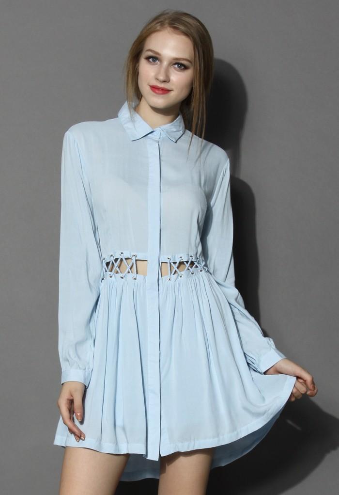 Autumn Breeze Shirt Dress with Cutout Waist - Retro, Indie and Unique Fashion