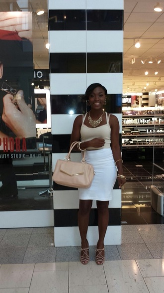 bag white skirt nude heels accessories crop tops make-up jewels