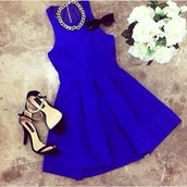 dress,sleeveless cobalt skater dress,dress blue,necklace,sunglasses,summer,outfit,fashion,style,flowers,heels,party,girl,shoes,royal blue dress,royal blue,beautiful,classy,fabulous colors,blue dress,skater dress,gold necklace,jersey dress