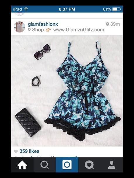 romper blue black summer white